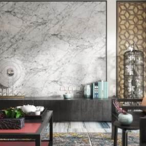 新中式客餐厅3D模型【ID:530440055】