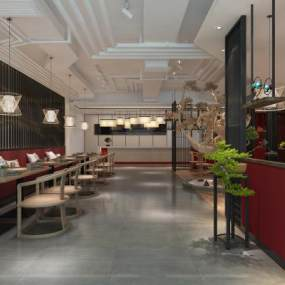 新中式餐厅3D模型【ID:644122267】