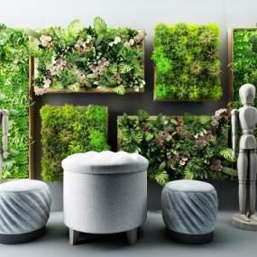 现代绿植摆件座椅多肉植物3D模型【ID:233406911】