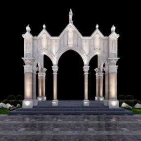 欧式简约教堂门头3D模型【ID:235767431】