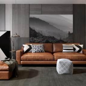 现代客厅沙发组合3D模型【ID:530431064】