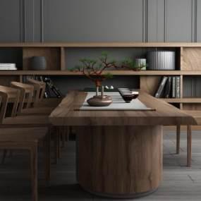 新中式实木茶桌椅边柜组合 3D模型【ID:640920891】