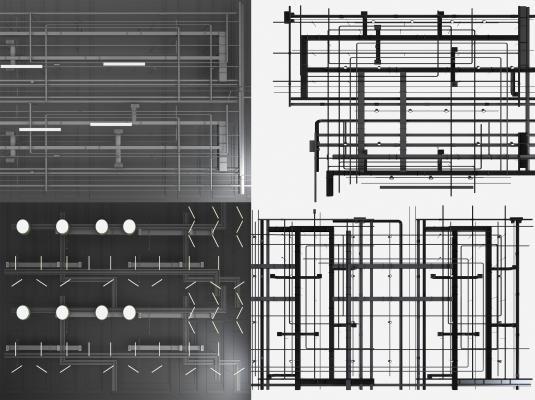 工业风管道吊顶天花管道工业风管道吊灯消防管道组合3D模型【ID:343536476】