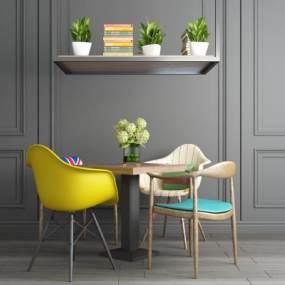 工业风休闲桌椅置物柜组合 3D模型【ID:640844285】