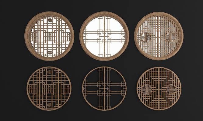 新中式圆形实木花格镂花窗3D模型【ID:331297298】