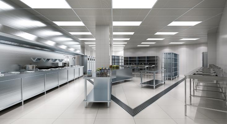 现代饭店后厨 厨房 橱柜 吊柜 洗手台 厨具