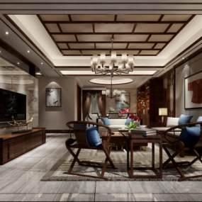 新中式客厅3D模型【ID:533595007】