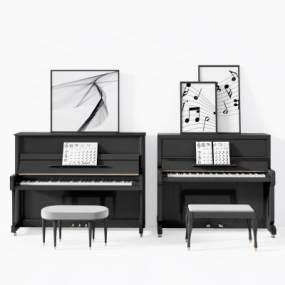 现代美式钢琴3D模型【ID:343333914】