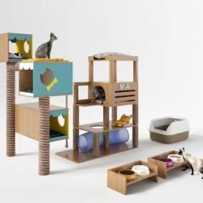 宠物猫猫爬架3D模型【ID:331954448】