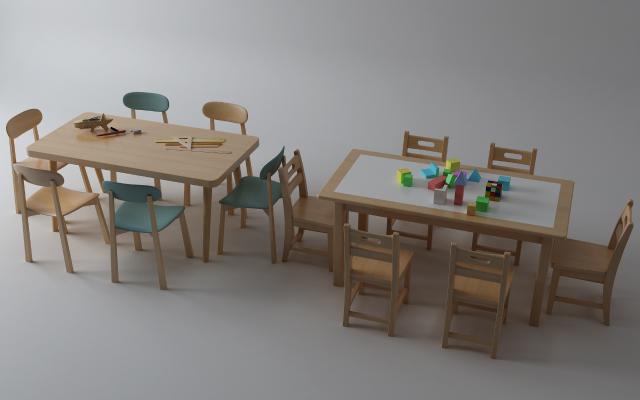 现代儿童桌3D模型【ID:947663318】