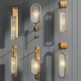 新中式輕奢壁燈組合3D模型【ID:747441949】