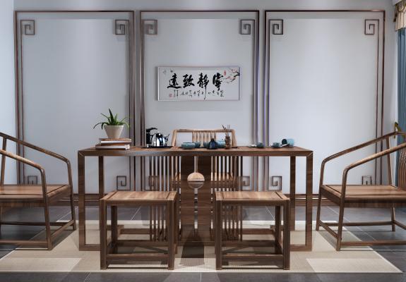 新中式实木茶桌椅组合3D模型【ID:735274769】