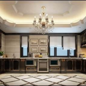 奢华古典欧风格大厨房3D模型【ID:536232373】