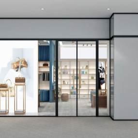 現代輕奢服裝服飾鞋包化妝品買手店3D模型【ID:146772046】