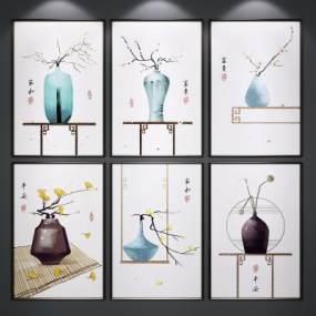新中式装饰画3D模型【ID:245639911】