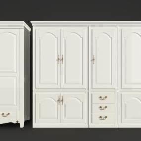 美式衣柜组合3D模型【ID:130426470】