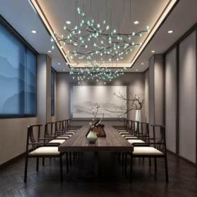新中式简约茶室3D模型【ID:633159655】