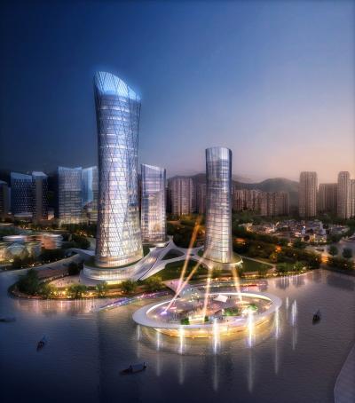 現代酒店建筑鳥瞰3D模型【ID:132692926】