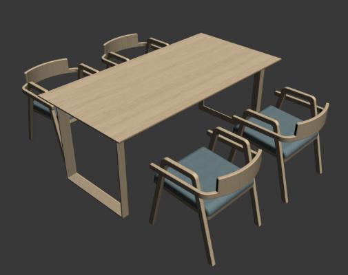 現代餐桌椅3D模型【ID:745162127】