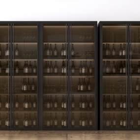 现代工业风酒柜装饰柜3D模型【ID:645402208】