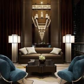 新中式酒店会客厅3D模型【ID:734811582】