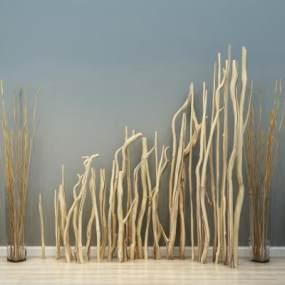 现代干枝树枝装饰品3D模型【ID:630490304】