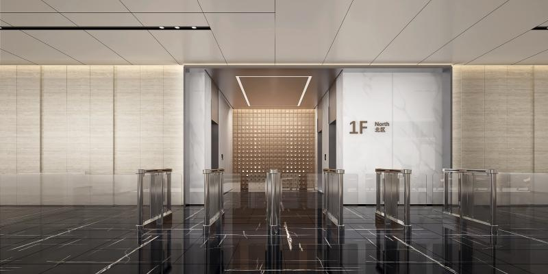 现代电梯厅3D模型【ID:746515671】