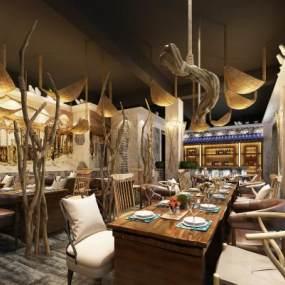 工装古典欧风格奢华餐厅3D模型【ID:637125227】