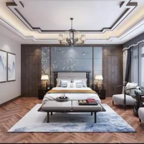 新中式臥室3D模型【ID:548165222】
