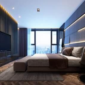 现代轻奢卧室3D模型【ID:544345284】