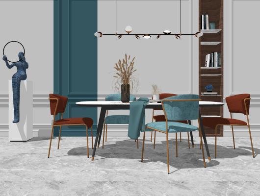 现代餐桌椅组合SU模型【ID:653052682】