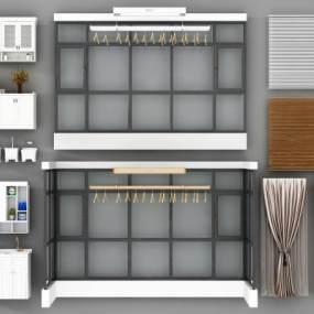 现代阳台落地窗窗帘洗衣机晾衣架3D模型【ID:332815240】