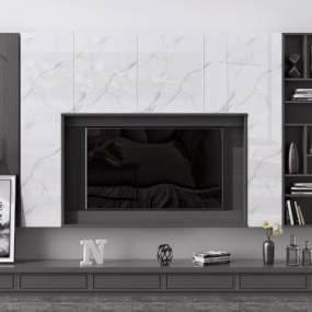 现代电视背景墙3D模型【ID:953433947】