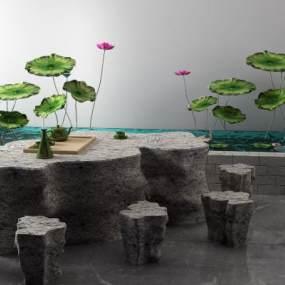 新中式景观小品3D模型【ID:153373492】