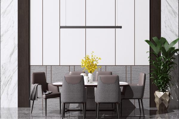 现代餐桌椅花瓶组合 金属吊灯 绿植盆栽
