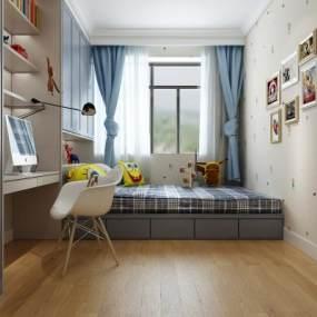 现代北欧儿童房卧室 3D模型【ID:541468202】