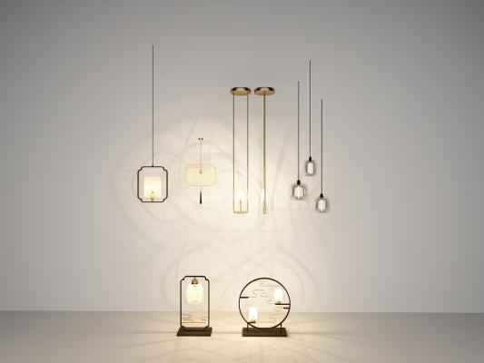 新中式吊燈臺燈組合3D模型【ID:842283472】