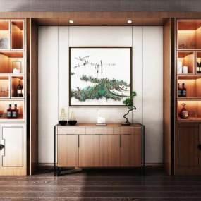 新中式酒柜3D模型【ID:544935187】