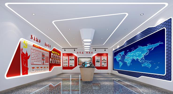 现代党建展厅3D模型【ID:942039946】