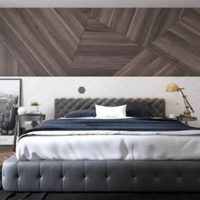 现代卧室双人床3D模型【ID:530431275】