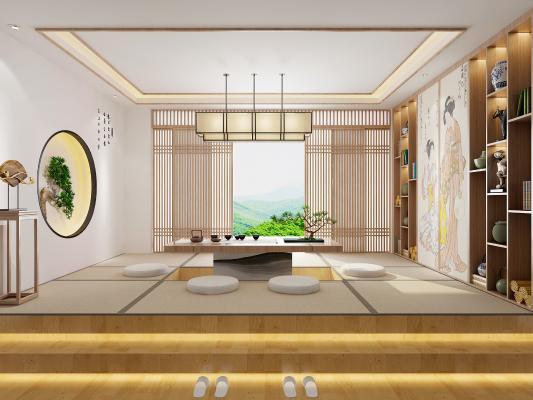 日式茶室榻榻米3D模型【ID:644421648】