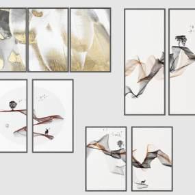 现代简欧式挂画装饰画 3D模型【ID:241511914】