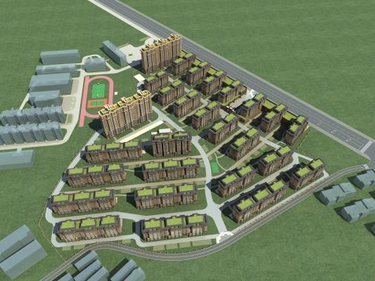 现代住宅小区3D模型【ID:146008747】