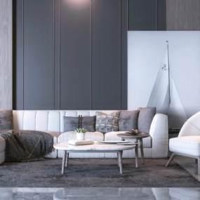 现代沙发茶几组合3D模型【ID:633772740】