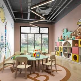 现代幼儿园教室3D模型【ID:834709711】