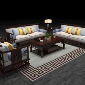 新中式沙发3D模型【ID:634504749】