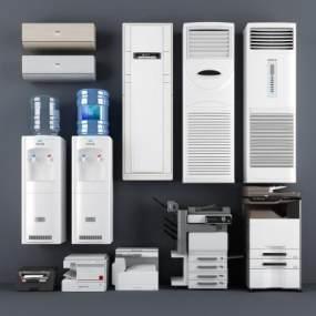 现代打印机饮水机柜式空调挂式空调办公设备3D模型【ID:330494068】