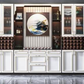 新中式多功能酒柜3D模型【ID:647355284】
