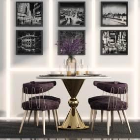 现代餐桌椅组合3D模型【ID:845293829】
