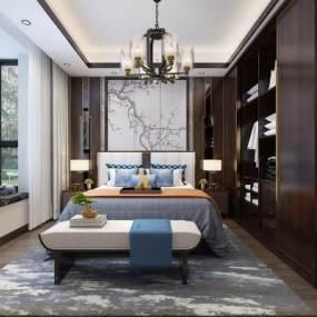 新中式卧室3D模型【ID:549318212】